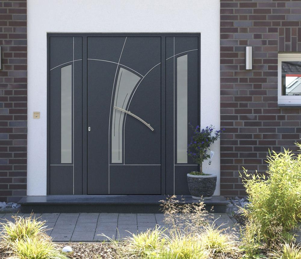 Aluminium-Haustür mit Seitenteilen Modell Frieda - Haustüren für München und Rosenheim - pmt Kolbermoor