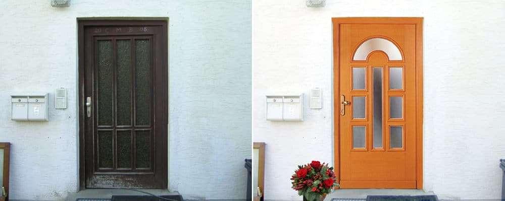 Haustüren-Fotomontage Rubner Holzhaustür gegen alte Holztür