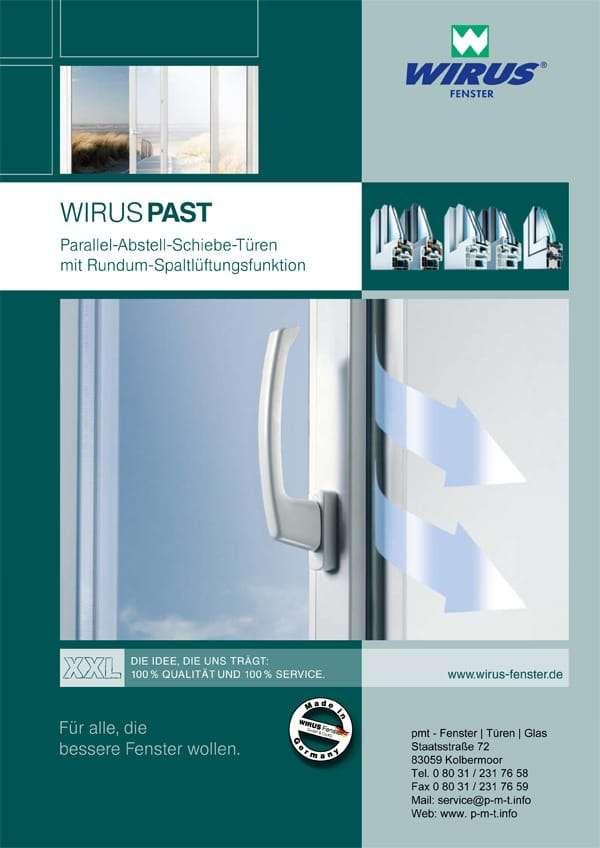 Broschüre PAST Parallel-Abstell-Schiebetüren Wirus Fenster - pmt Fenster für München und Rosenheim