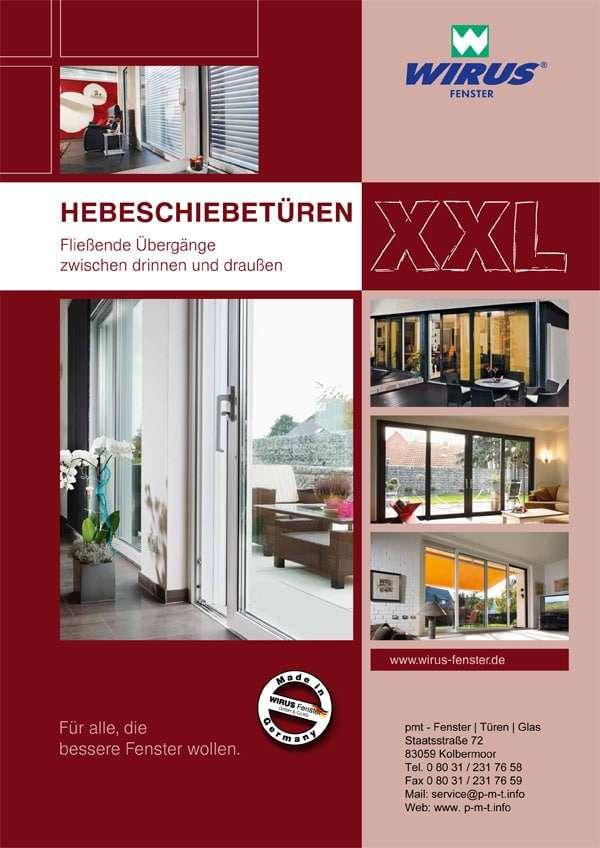 Broschüre Hebeschiebetüren Wirus Kunststofffenster - pmt Fenster für Rosenheim und München