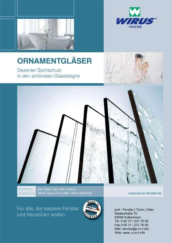 Broschüre Ornamentgläser Wirus Fenster - pmt Fenster für München und Rosenheim